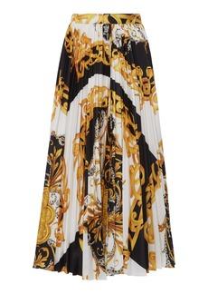 Versace Printed Plissé Crepe Skirt