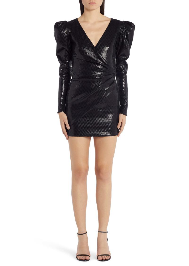 Versace Puff Shoulder Sequin Long Sleeve Minidress