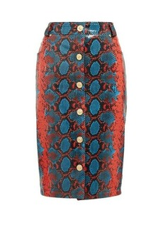 Versace Python-effect leather pencil skirt