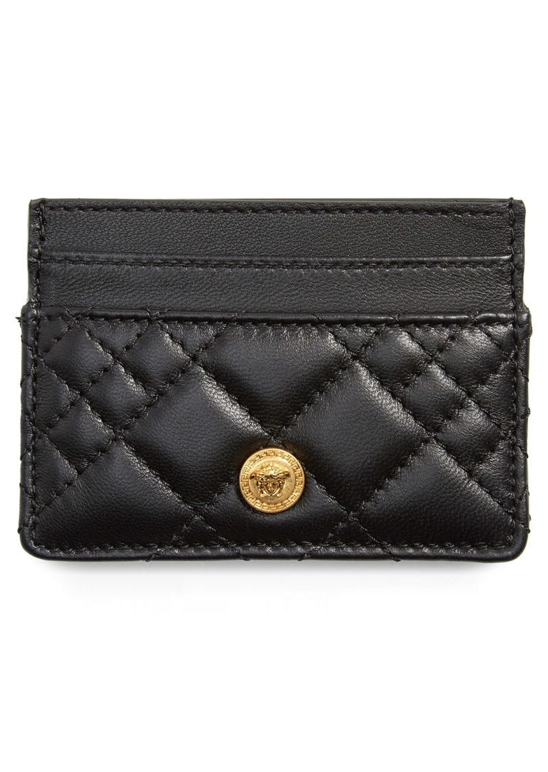 Versace Quilted Icon Leather Card Case