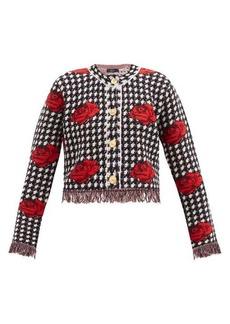 Versace Rose-jacquard houndstooth wool cardigan