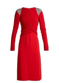 Versace Round-neck cut-out shoulder crepe dress