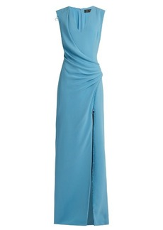 Versace Ruched silk-cady gown