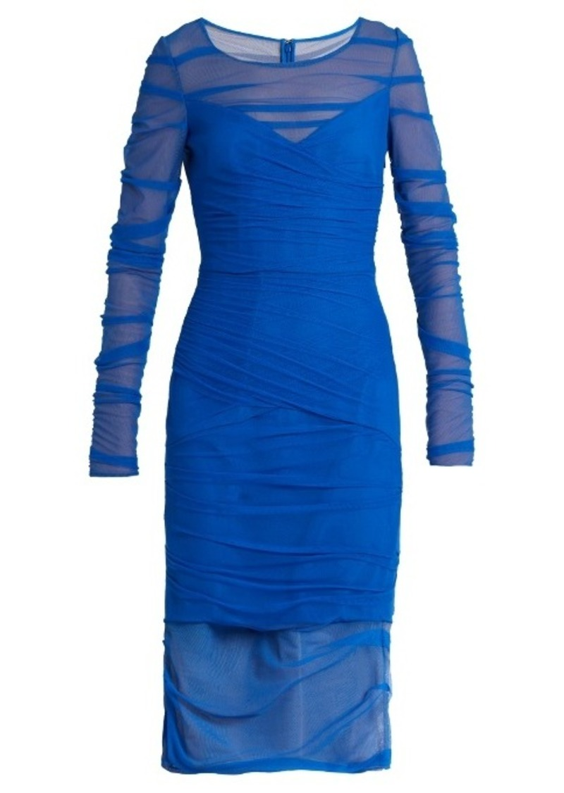 Versace Ruched tulle dress