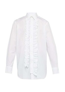 Versace Ruffle-trimmed bib-panel shirt