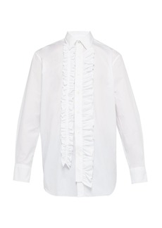 Versace Ruffle-trimmed bib-panel shirt