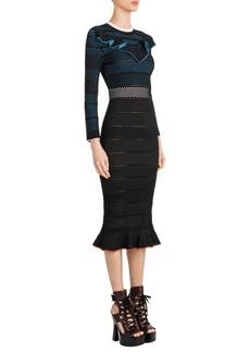 Versace Ruffled Ladder-Stitch Midi Dress