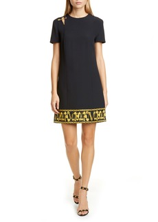 Versace Safety Pin Detail Crepe Shift Dress