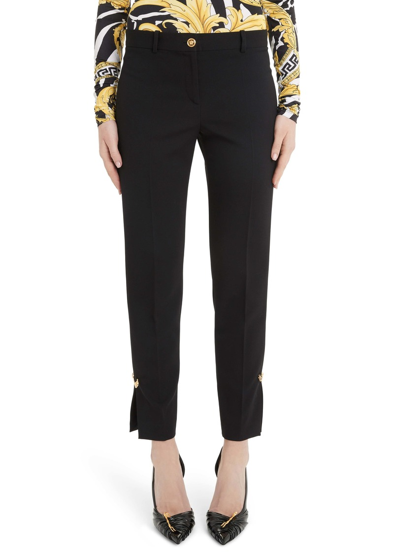 Versace Safety Pin Detail Slim Stretch Wool Pants