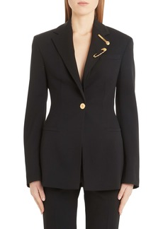 Versace Safety Pin Detail Stretch Wool Blazer