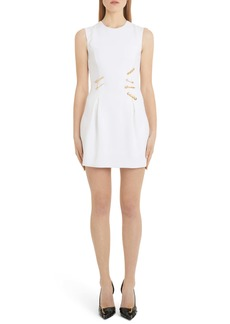 Versace Safety Pin Detail Wool Minidress