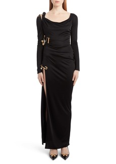Versace Safety Pin Embellished Long Sleeve Dress