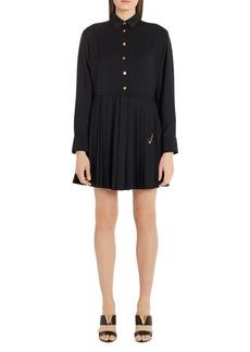 Versace Safety Pin Pleated Long Sleeve Mini Shirtdress