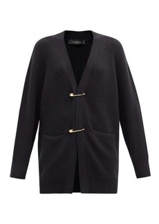 Versace Safety pin ribbed-knit wool cardigan