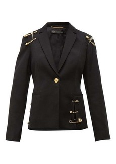 Versace Safety-pin single-breasted wool blazer