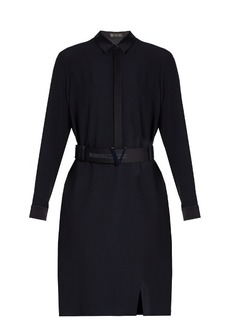 Versace Satin-trimmed crepe shirt dress
