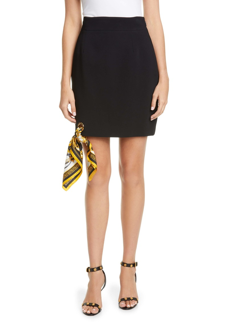 Versace Scarf Hem Crepe Miniskirt