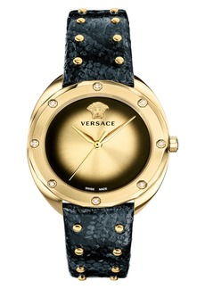 Versace Shadov Diamond Snakeskin Leather Band Watch, 38mm