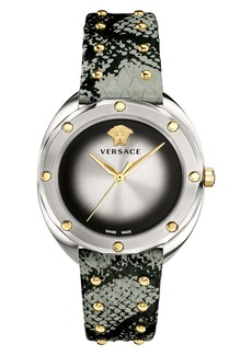 Versace Shadov Snakeskin Leather Strap Watch, 38mm
