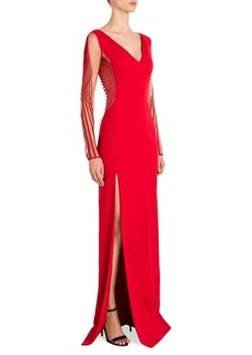 Versace Sheer-Sleeve Cady V-Neck Gown