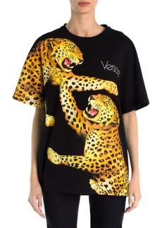 Versace Short-Sleeve Oversized Leopard Tee