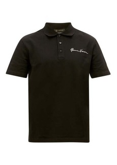 Versace Signature-embroidered cotton-piqué polo shirt