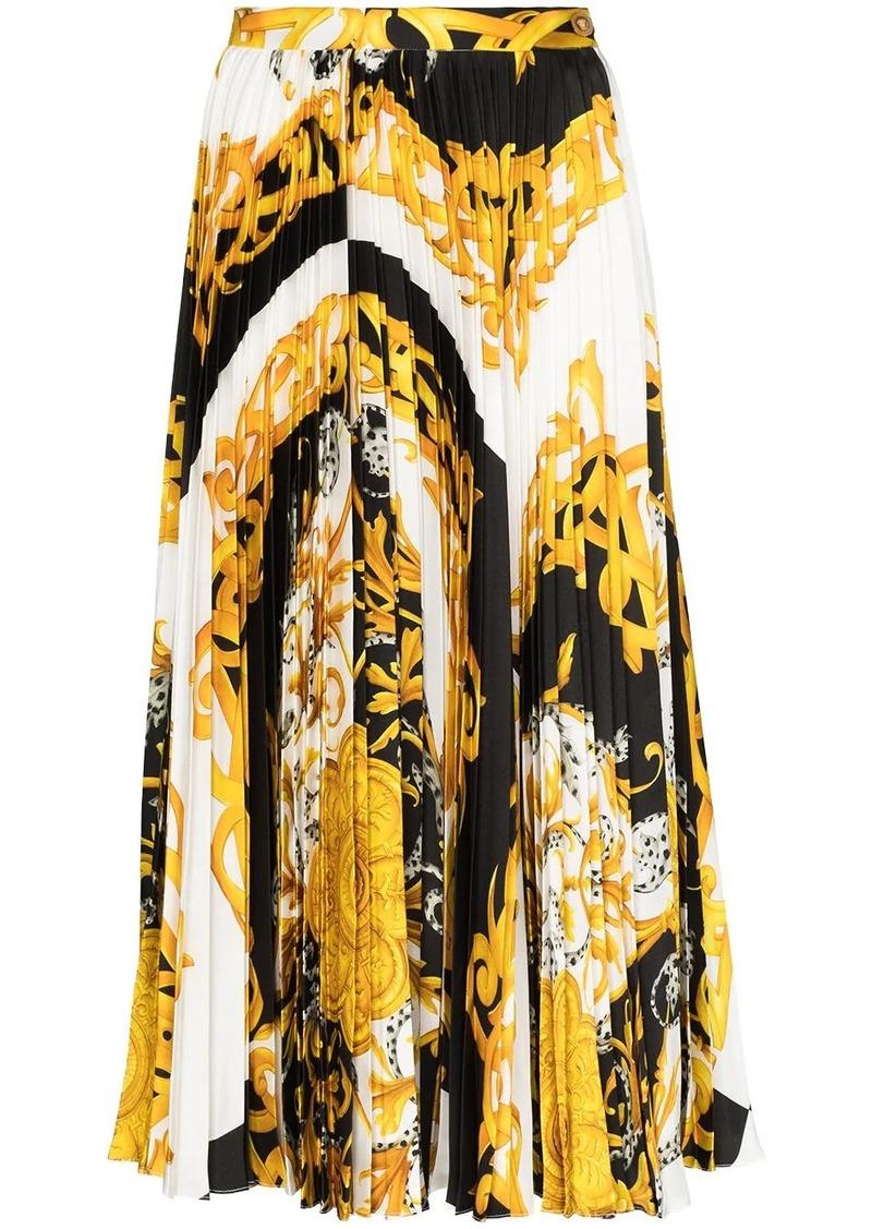 Baroque-print pleated midi skirt