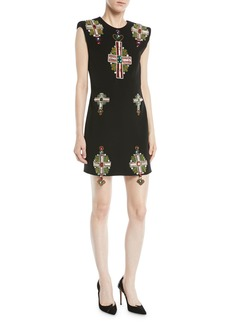Sleeveless Padded-Shoulder Cross-Embellished Mini Silk Cocktail Dress