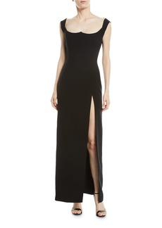 Versace Sleeveless Sweetheart-Neck High-Slit Low-Back Evening Gown