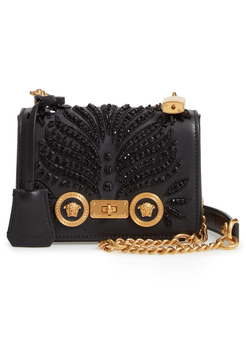 2fba9745495d Versace Versace Small Icon Crystal Embellished Leather Crossbody Bag ...