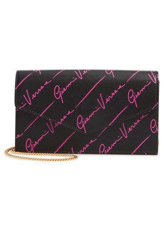 Versace Small Logo Leather Wallet on A Chain