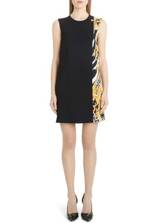 Versace Split Barocco Print Shift Dress