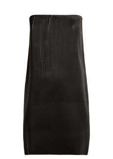 Versace Strapless pleated leather mini dress