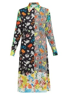Versace Stripe and floral-print silk-jacquard shirtdress