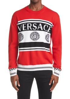 Versace Stripe Medusa Logo Wool Sweater