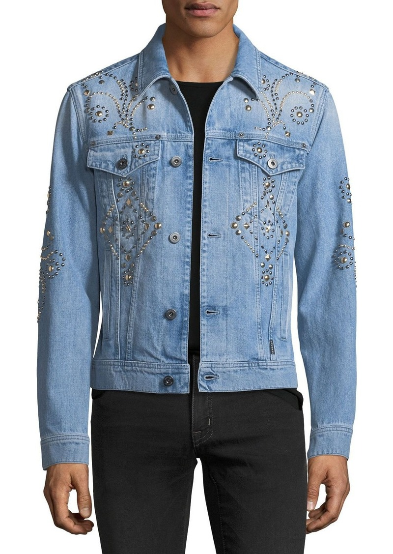 vast selection new images of official shop On Sale today! Versace Versace STUDDED DENIM JACKET