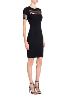 Studded Grid Bodycon Dress