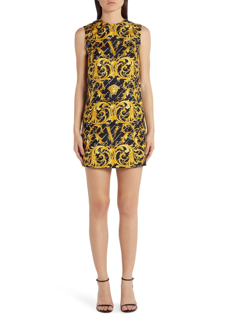 Versace Swirl Print Stretch Silk Shift Dress