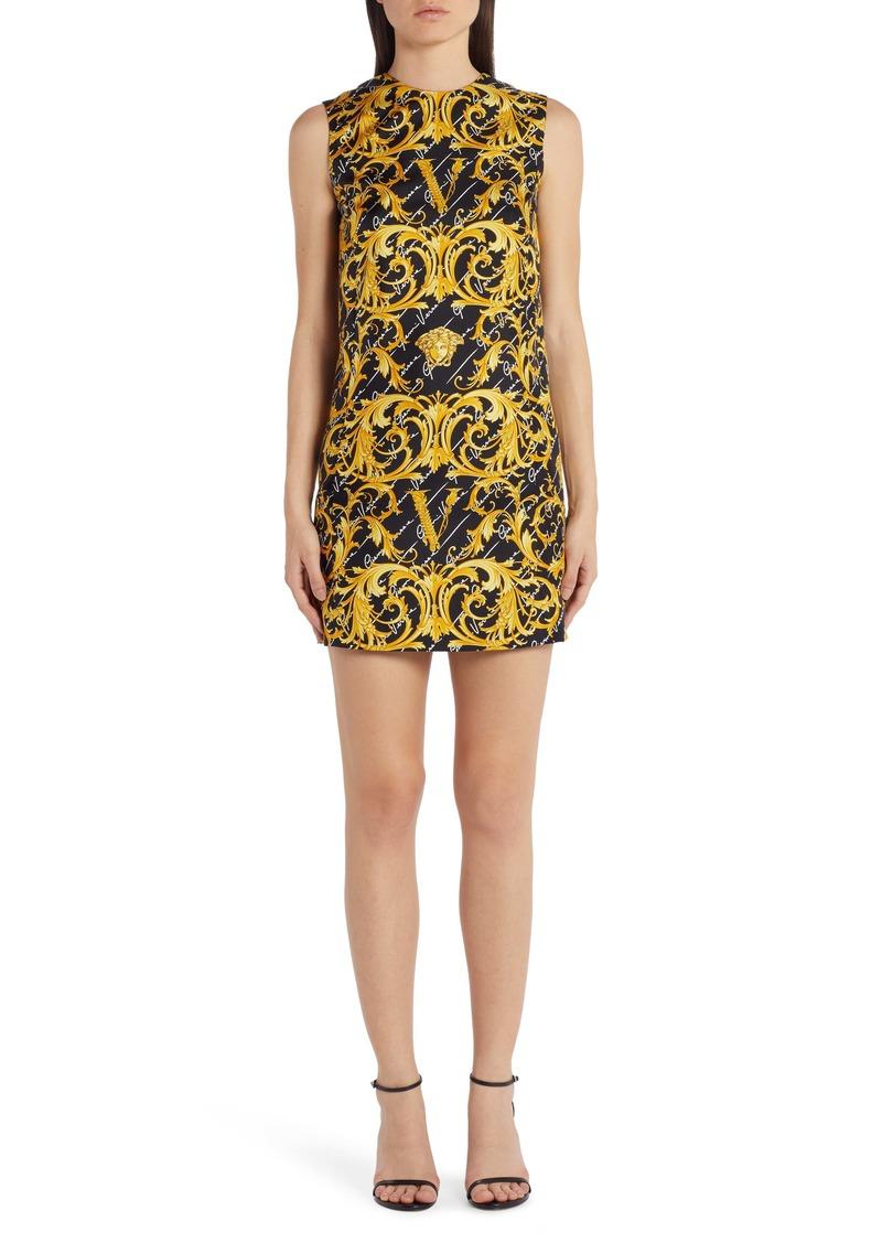 Versace Swirl Print Stretch Silk Shift Dress