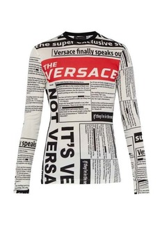 Versace Tabloid-print long-sleeved T-shirt
