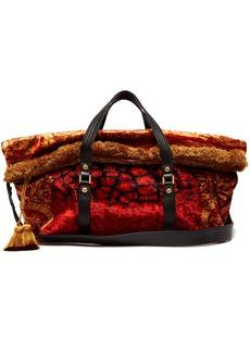 Versace Tasselled printed velvet bag