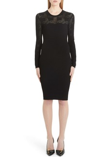 Versace Tattoo Knit Long Sleeve Sweater Dress