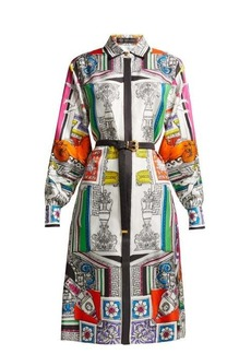 Versace Temple-print silk-satin shirtdress