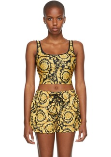 Versace Underwear Black & Gold Baroque Bikini Top