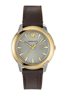 Versace Urban Leather Strap Watch, 42mm