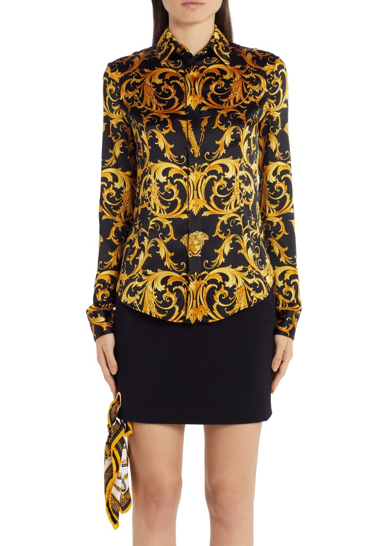 Versace V-Barocco Print Stretch Silk Blouse