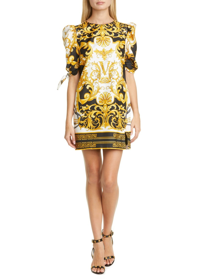 Versace V Barocco Print Tie Sleeve Silk Shift Minidress