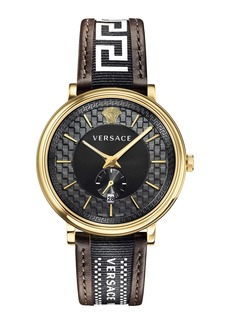 Versace V Circle Greca Leather Strap Watch, 42mm
