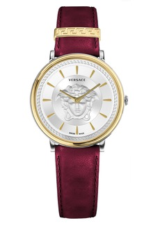 Versace V-Circle Leather Strap Watch, 38mm