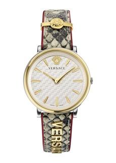 Versace V Circle Logo Snakeskin Leather Strap Watch, 38mm